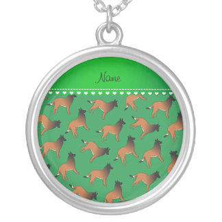 Personalized name green belgian tervuren dogs round pendant necklace