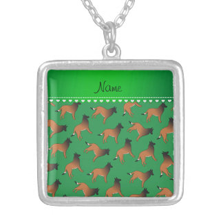 Personalized name green belgian tervuren dogs square pendant necklace