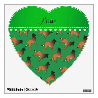 Personalized name green belgian tervuren dogs wall decor
