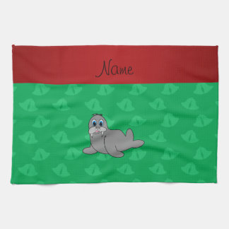 Personalized name green bells walrus kitchen towels