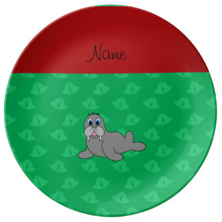 Personalized name green bells walrus porcelain plate