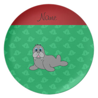 Personalized name green bells walrus plates