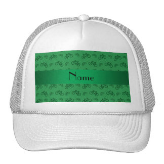 Personalized name green bicycle pattern trucker hat