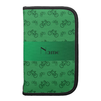 Personalized name green bicycle pattern planner
