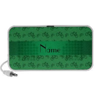 Personalized name green bicycle pattern mp3 speakers