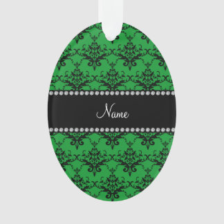 Personalized name Green black damask
