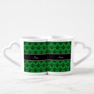 Personalized name Green black damask Couples' Coffee Mug Set