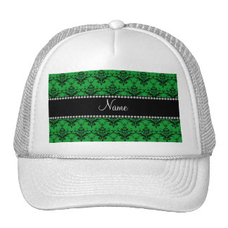 Personalized name Green black damask Trucker Hat