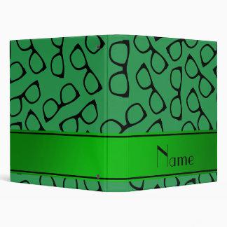 Personalized name green black glasses vinyl binder