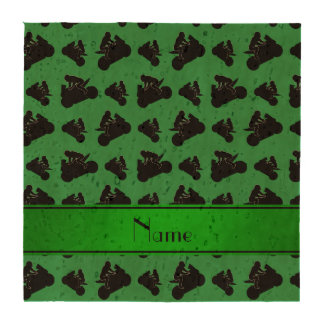 Personalized name green black motorcycle racing drink coasters