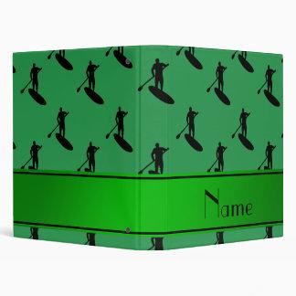 Personalized name green black paddleboarding binders