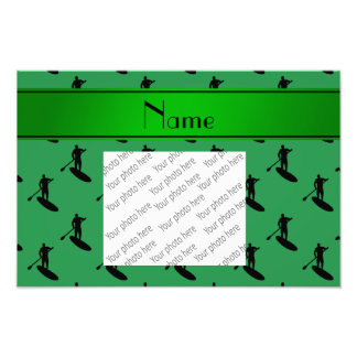 Personalized name green black paddleboarding photo print