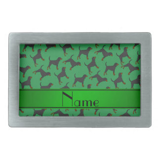 Personalized name green black tan coonhounds belt buckles