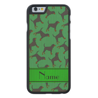 Personalized name green black tan coonhounds carved® maple iPhone 6 case