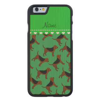 Personalized name green bloodhound dogs carved® maple iPhone 6 slim case