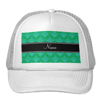 Personalized name Green blue damask Trucker Hat
