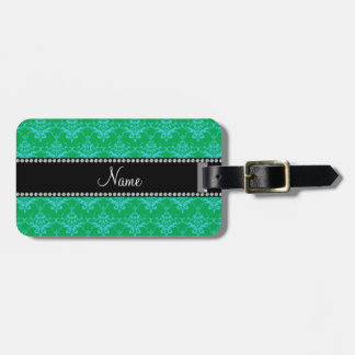 Personalized name Green blue damask Bag Tags