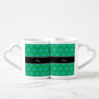 Personalized name Green blue damask Couples' Coffee Mug Set