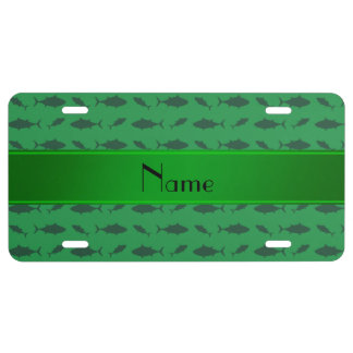 Personalized name green bluefin tuna pattern license plate