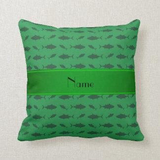Personalized name green bluefin tuna pattern throw pillows