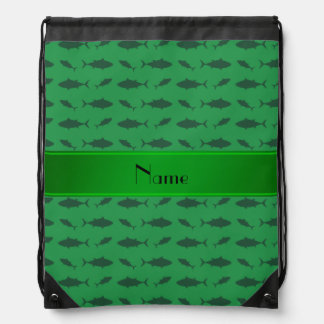 Personalized name green bluefin tuna pattern backpack