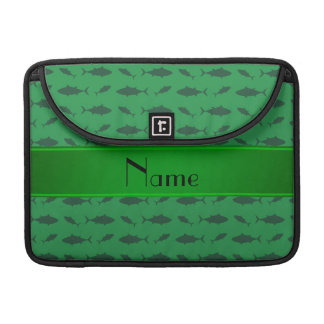 Personalized name green bluefin tuna pattern sleeves for MacBook pro