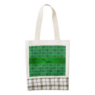 Personalized name green bluefin tuna pattern zazzle HEART tote bag