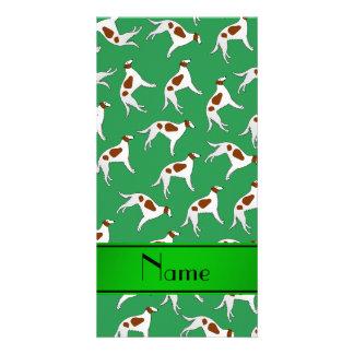 Personalized name green borzoi dog pattern photo card