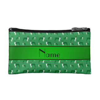 Personalized name green boston terrier cosmetic bag