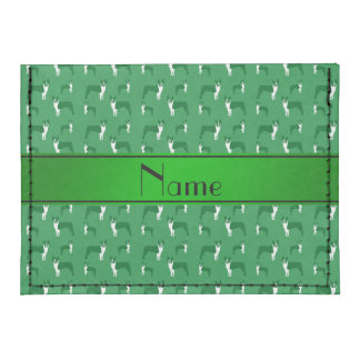 Personalized name green boston terrier tyvek® card wallet