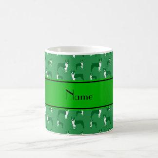 Personalized name green boston terrier classic white coffee mug