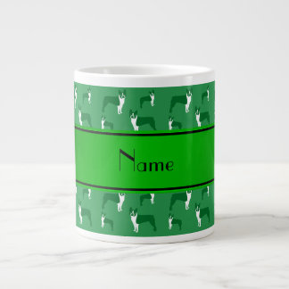 Personalized name green boston terrier 20 oz large ceramic coffee mug