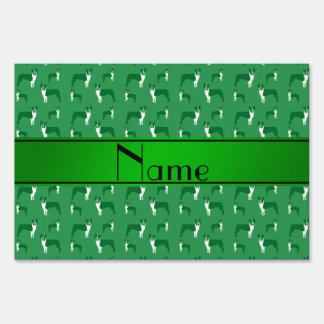Personalized name green boston terrier lawn sign