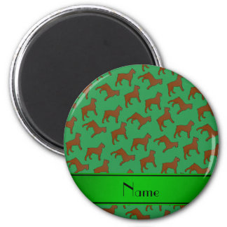 Personalized name green Bouvier des Flandres dogs 2 Inch Round Magnet