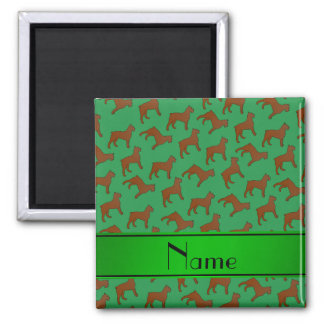Personalized name green Bouvier des Flandres dogs 2 Inch Square Magnet