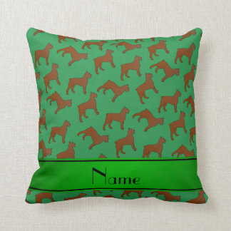 Personalized name green Bouvier des Flandres dogs Throw Pillow