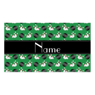 Personalized name green bowling black stripe business cards