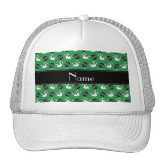 Personalized name green bowling black stripe trucker hat