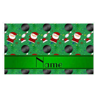 Personalized name green bowling christmas pattern business card template