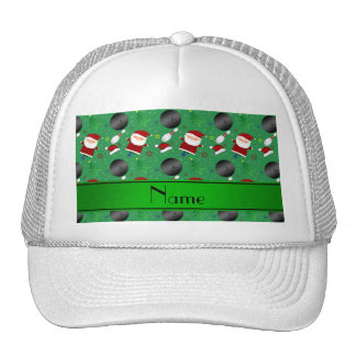 Personalized name green bowling christmas pattern trucker hat