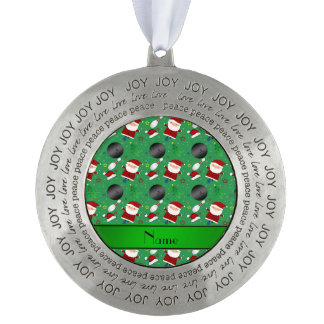 Personalized name green bowling christmas pattern round ornament