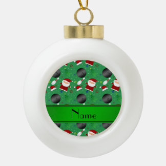 Personalized name green bowling christmas pattern ornament
