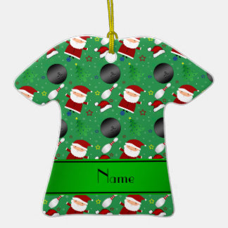 Personalized name green bowling christmas pattern christmas tree ornament