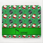 Personalized name green bowling christmas pattern mouse pads