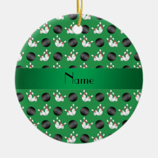 Personalized name green bowling pattern ceramic ornament