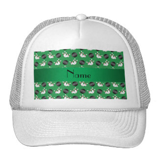 Personalized name green bowling pattern trucker hat