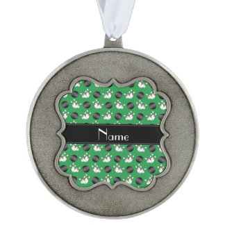 Personalized name green bowling pattern scalloped pewter ornament