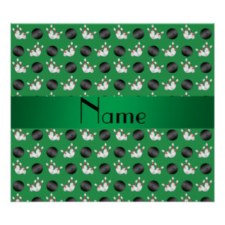 Personalized name green bowling pattern poster