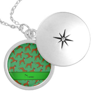 Personalized name green boxer dog pattern round locket necklace