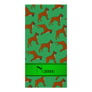 Personalized name green boxer dog pattern photo card